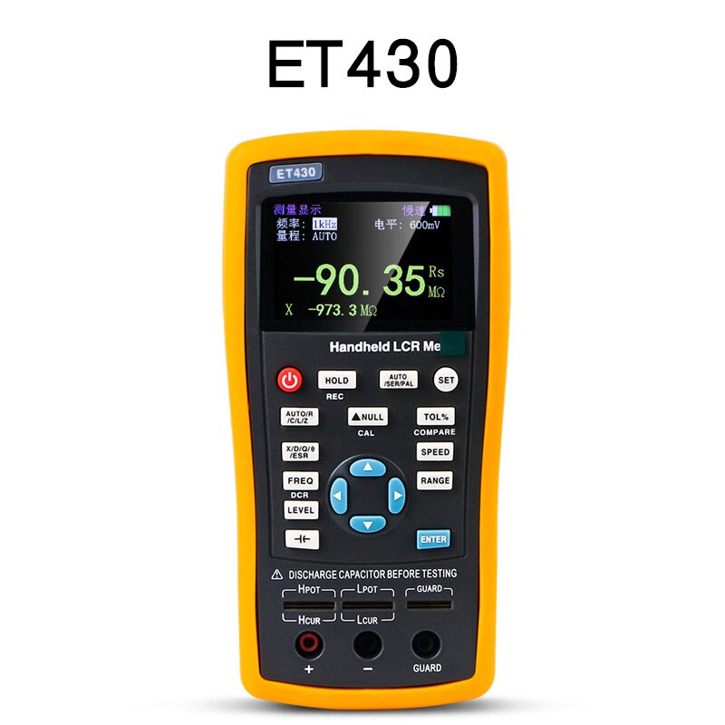 Et430 handheld multifuncional resistência digital indutância capacitância medidor tester 100khz lcr digital ponte medidor