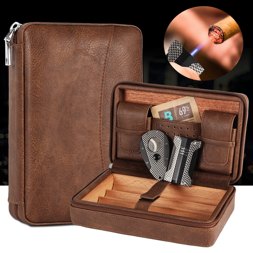 GALINER Portable Cigar Humidor Box Travel Leather Cigars Case Cedar Wood Cigars Set W Lighter Cigar Cutter Holder Humidifier Bag