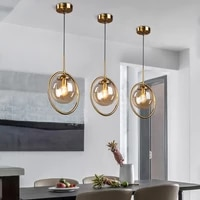 nordic led pendant lights for home simple glass led ring lamps decoration lights living room indoor hanging lighting fixtures