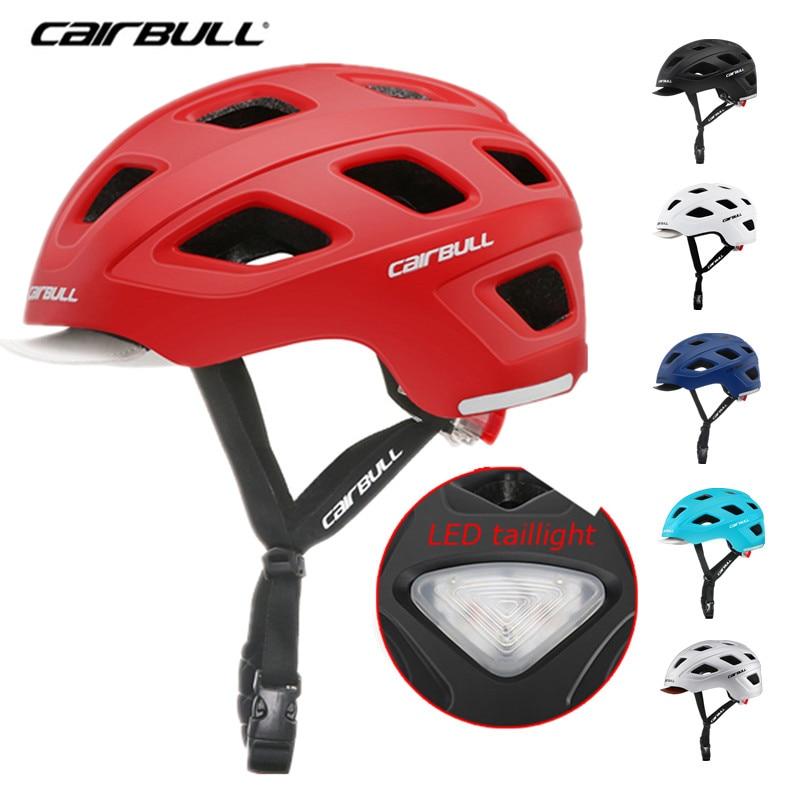 Casco de Ciclismo de Carretera de Cairbull City para hombre y mujer, visera desmontable/luz trasera LED, casco de seguridad para viajes, bicicleta MTB BMX