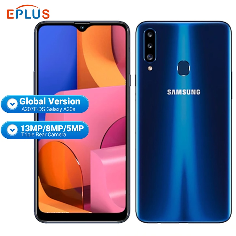 "Global Samsung Galaxy A20S A207F/DS Mobile Phone 3GB RAM 32GB ROM 4000mAh Snapdragon Octa core 6.5"" 13MP Triple Camera 4G Phone"
