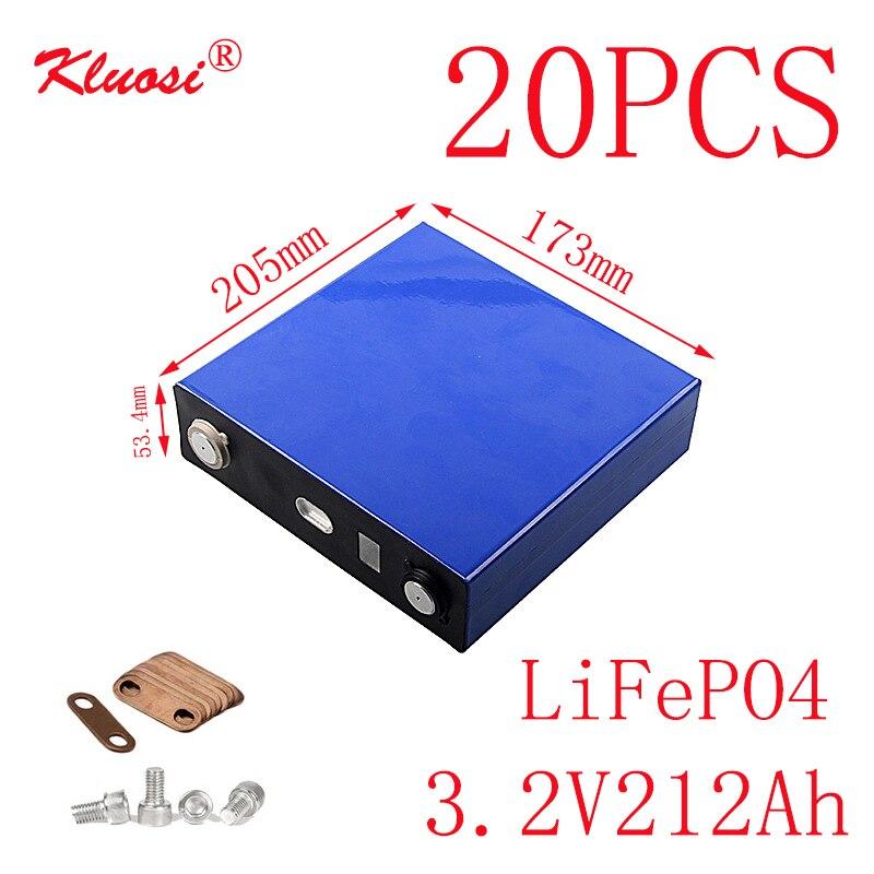 KLUOSI 20 piezas 20S/60V Paquete de batería 3.2V212Ah LiFePO4 para inversor de almacenamiento de energía Solar EV Marine RV Golf US/EU libre de impuestos
