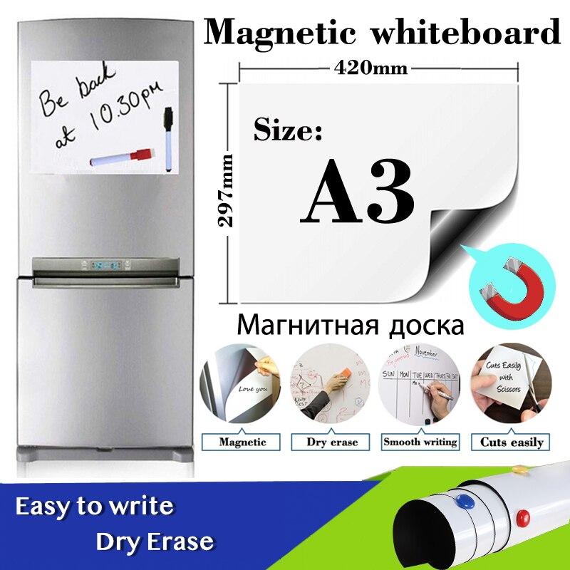 Магнитная доска Размера A3, наклейка на холодильник, стираемая на сухой основе белая доска, школьная доска для сообщений, подарок, 1 черная ру...