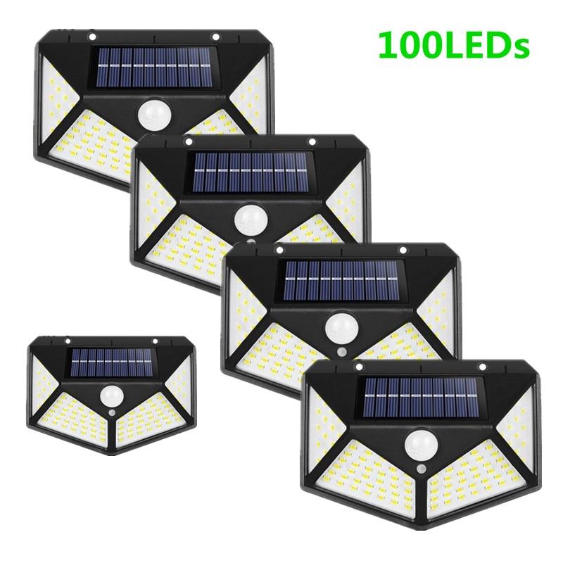 100 LEDs Solar Led Light Outdoor Solar Lamp PIR Motion Sensor Solar Powered Sunlight Street Light for Garden Decoration