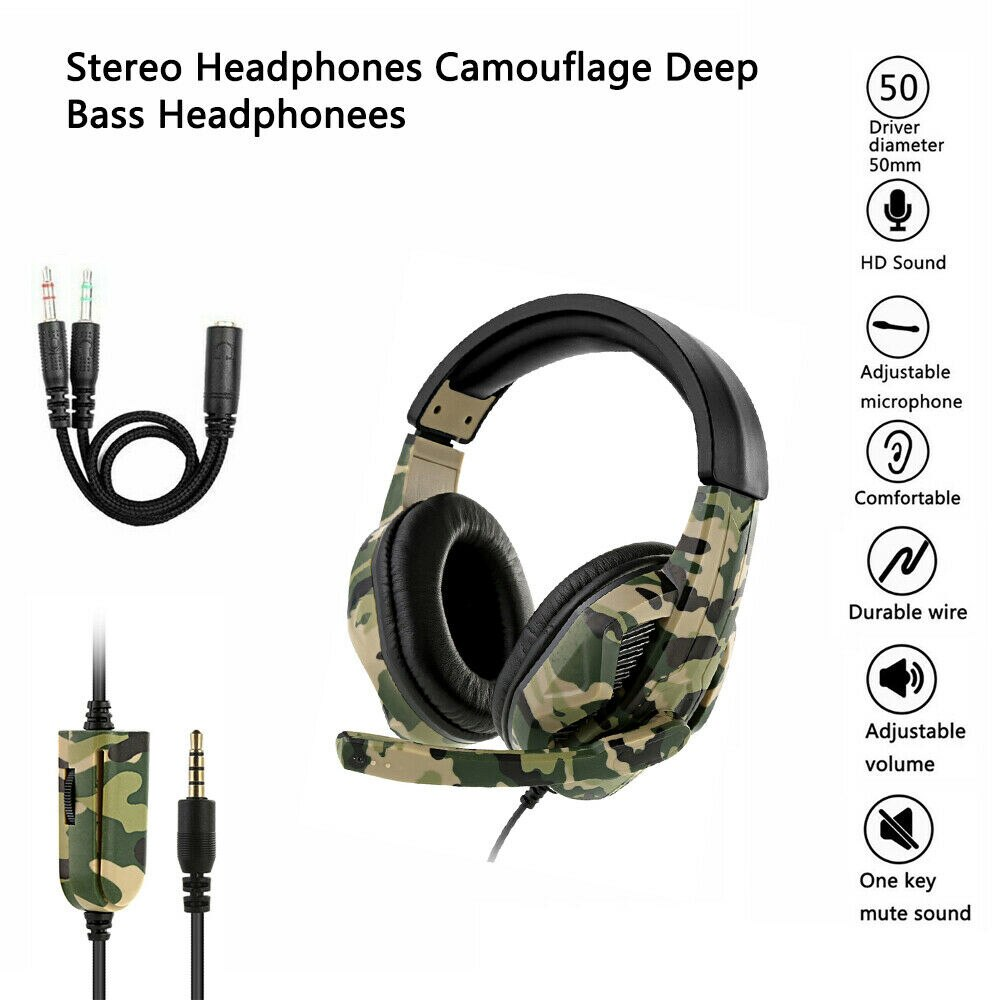 Camouflage Gaming Headset Surround Sound Deep Bass Stereo Gamer Wired Headphones 3.5mm Earphones with Mic For Xbox PC Laptop PS4 enlarge