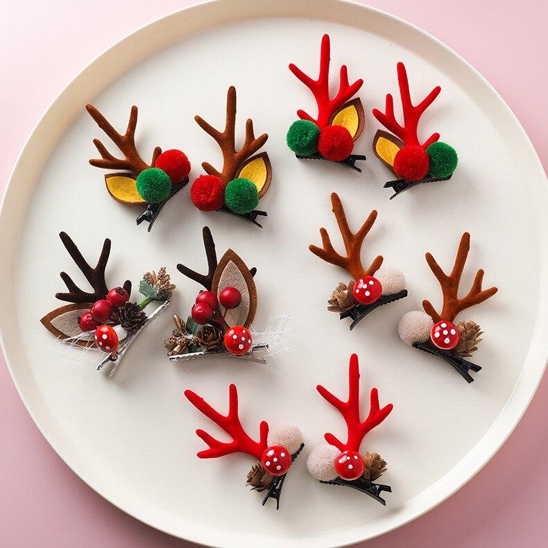 Nueva diadema de astas roja estilo Festival accesorios para el cabello con seta de alce y nueces de bosque