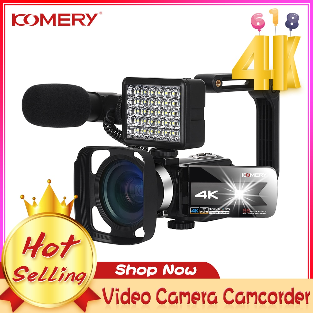 Promo KOMERY 2021 Hot Selling Video Camcorder 4K WiFi Night Vision 56MP Beauty Light Touch Screen Vlogging for Youbute Webcam Camera