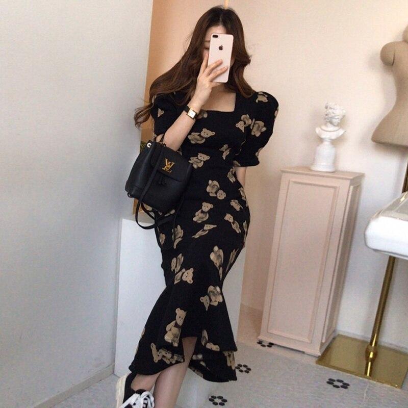 فستان بخصر مطبوع على شكل دبدوب, فستان أنيق وأنيق من كوريا الجنوبية