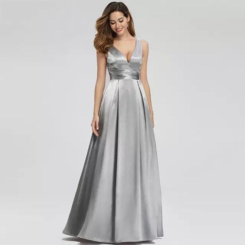 Nuevo Vestido de noche Vestido largo de satén Delgado Formal de moda sin mangas vestidos de fiesta para mujeres para Vestido de boda y fiesta de invitados Cazdzy