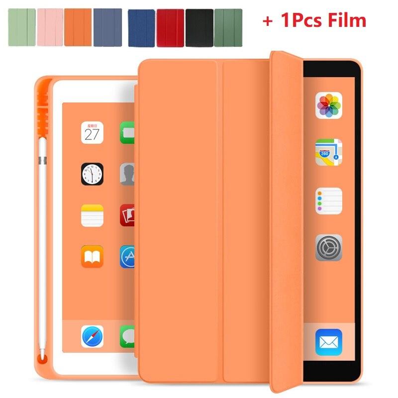 """Para apple ipad 10.2 """"7th geração com suporte de lápis funda para ipad a2200 a2198 a2232 tpu luva de silicone macio com filme"""
