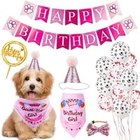 cute handmade adjustable pet birthday party decor cat dog scarf hat collar banner accessories for diy pet party supplies