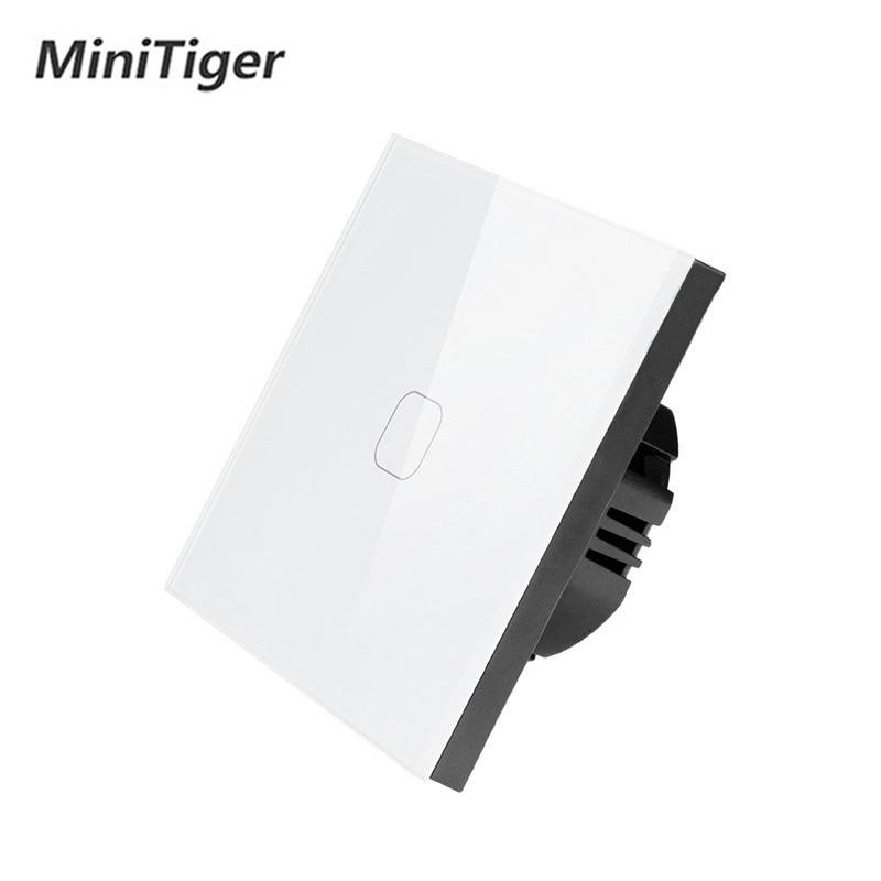 Interruptor de panel de cristal blanco táctil 1 Gang 1 way estándar UE/UK Interruptor táctil, interruptor de pantalla táctil de pared de luz AC220V solo táctil