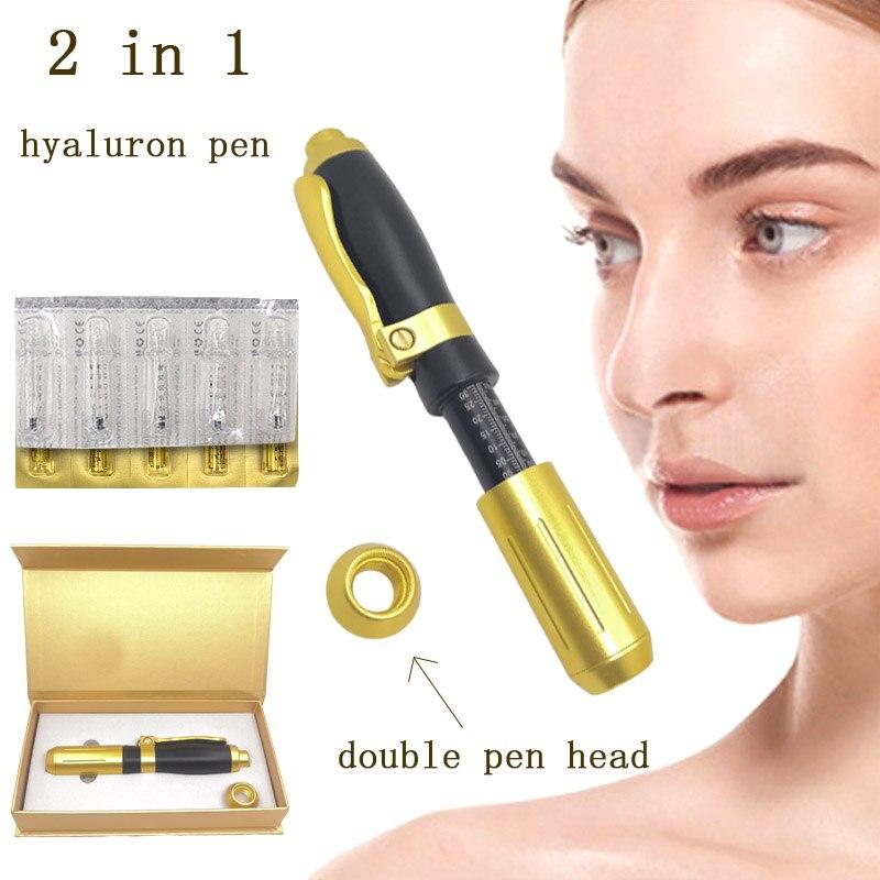 2 em 1 hyaluronic caneta 0.3ml & 0.5ml hyaluronzuur caneta injeção ácido lábio enchimento injetor mesotherapy arma atomizador sem agulha