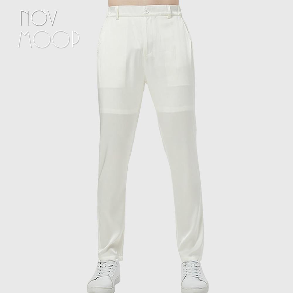 Novmoop-بنطلون يوجا مريح من ألياف لدنة للرجال ، ملابس نوم صيفية ، عصري ، أسود ، رمادي ، أبيض ، حرير ، مع جيب ، LT3068