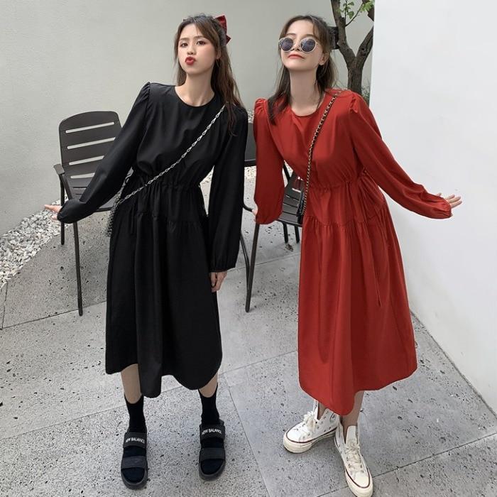 Otoño 2020 nuevo estilo suelto de manga larga cordón vestido de mujer cintura muestra delgada, longitud media pequeña falda negra Boudoir