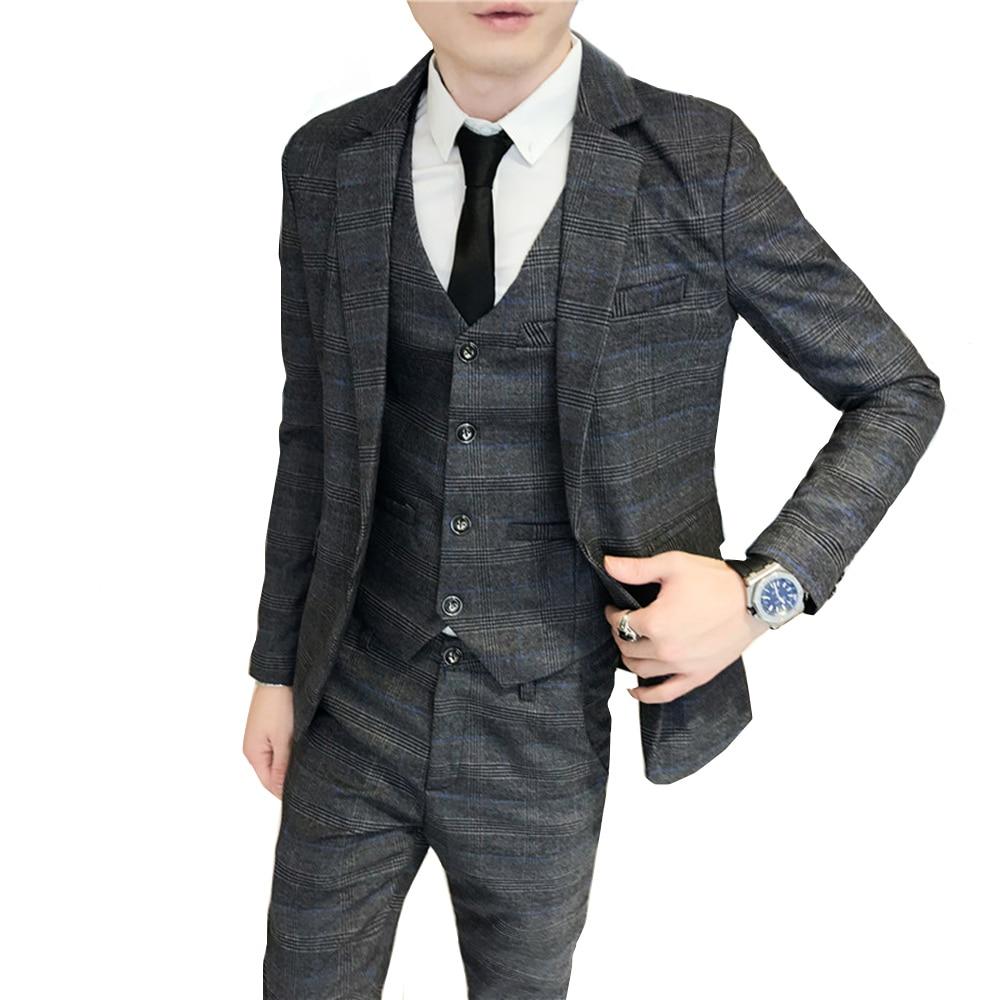 Men Youth plaid small suit male Korean version of the groom wedding dress groomsman group dress three-piece professional wear