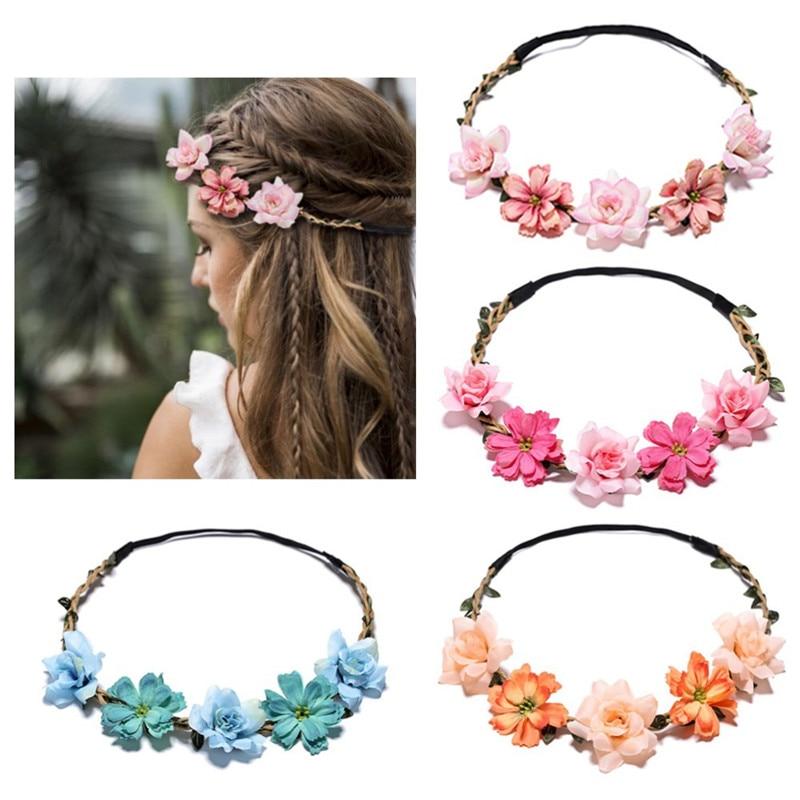 21 Styles Elegant Wedding Headband Sweet Bride Rose Flower Crown Fashion Women Beach Travel Hair Wreath Party Hair Accessories