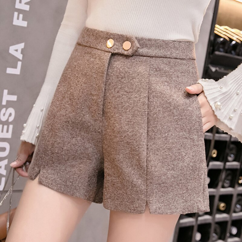2020 autumn winter women's shorts women wool black grey high waist korean style plus size female shorts for women
