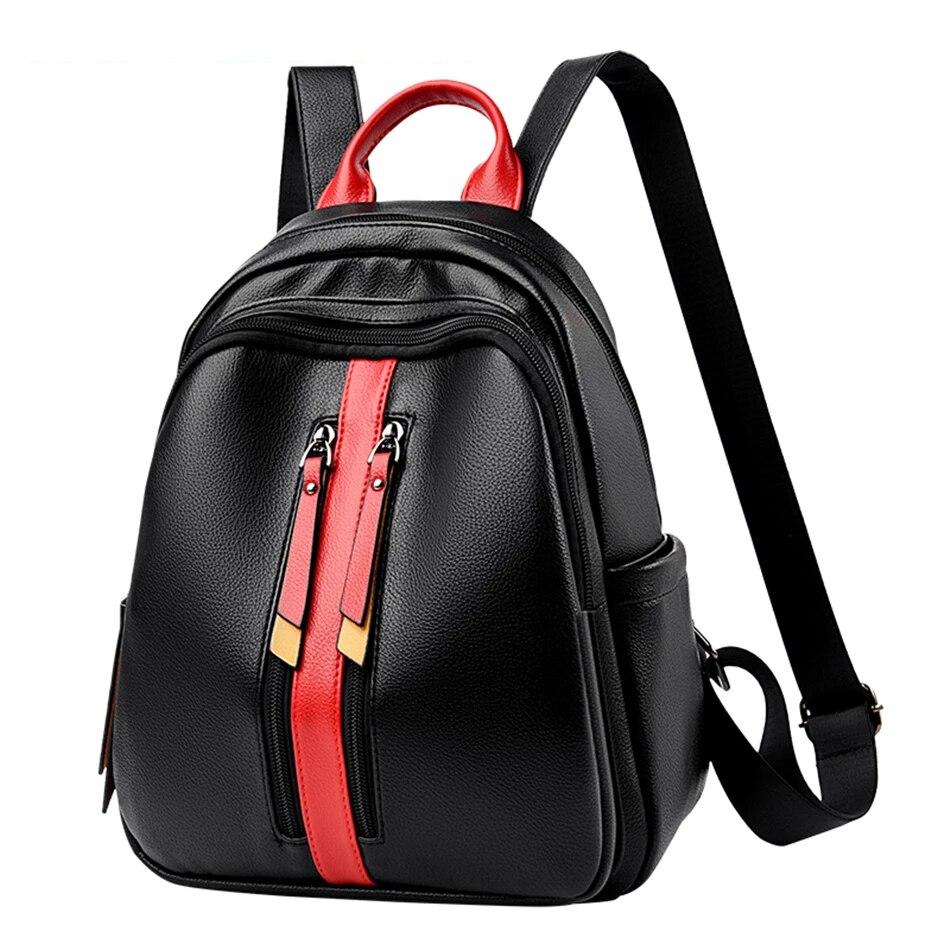Модный женский рюкзак, кожаный рюкзак контрастных цветов, школьная сумка на плечо, большой рюкзак для ноутбука, рюкзак для путешествий, Студ...