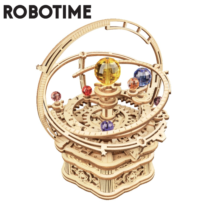 Robotime 84pcs Rotatable DIY 3D Starry Night Wooden Model Building Kits  Assembly Music Box Toy Gift for Children Kids