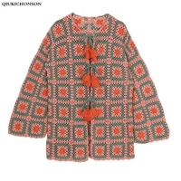 2020 lace up spring autumn sweater cardigan women casual plaid jiugongge pattern plus size ladies pure hand knitted sweater