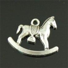 15 piezas de colgantes de Color plata antiguo de caballo oscilante encantos de caballo mecedora para hacer joyas de caballo mecedora colgante 17x21mm