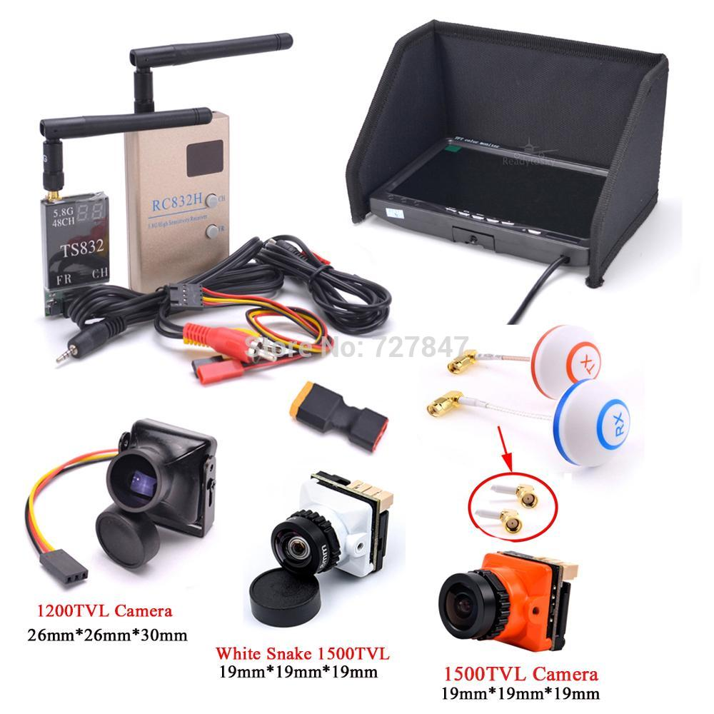 FPV Kit Combo System 1200TVL / 1500TVL Camera + 5.8Ghz 600mw 48CH TS832 RC832S RC832 + 7 inch LCD Mo