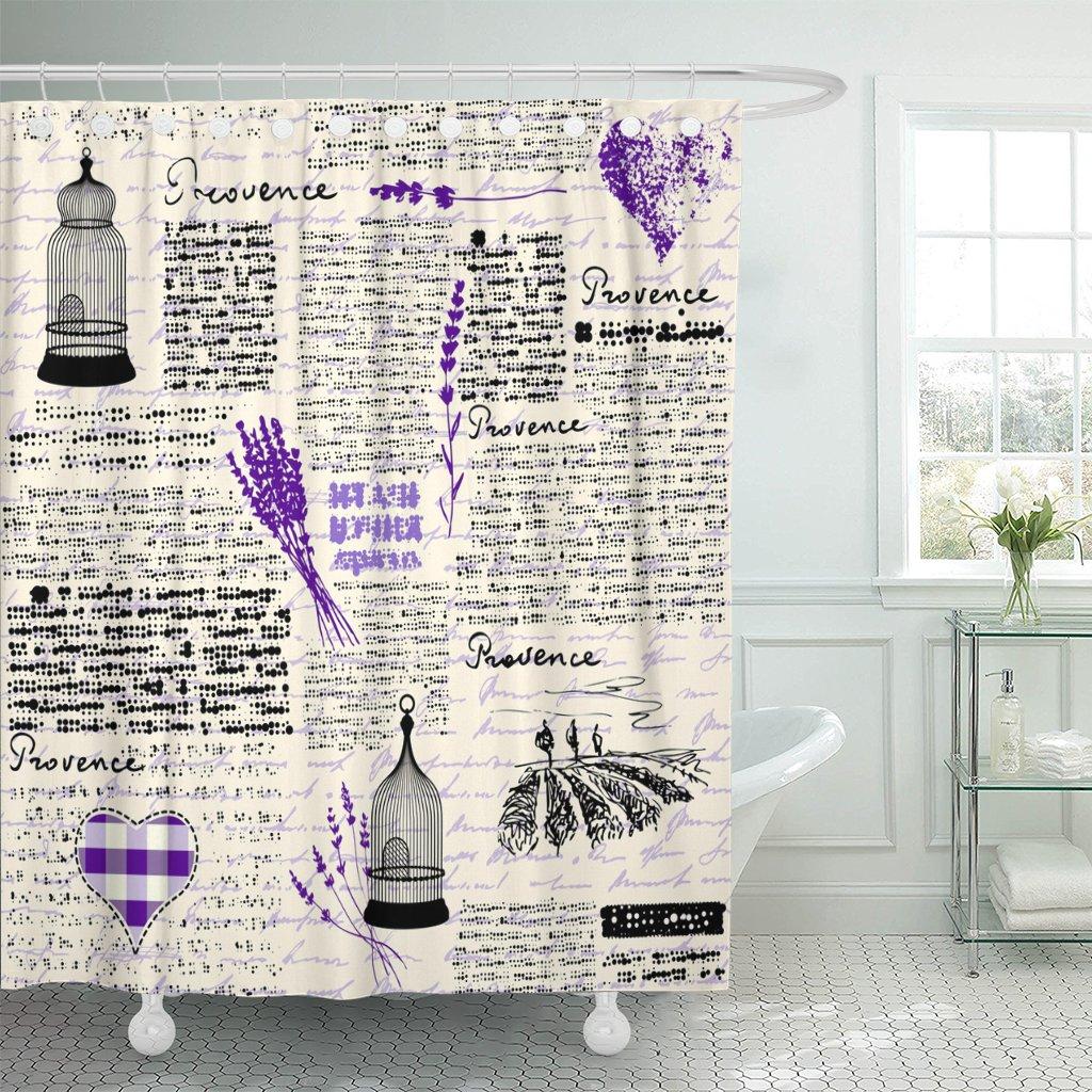 Vintage patrón imitación de periódico con letras de Francia Cortina de ducha poliéster impermeable 72x72 pulgadas conjunto