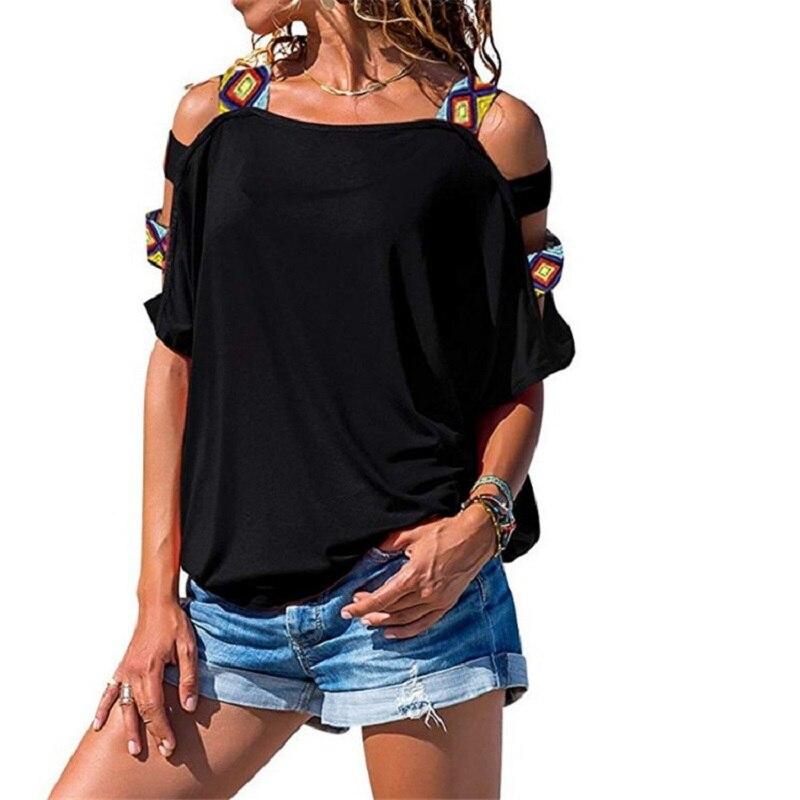 Tops de talla grande con hombros descubiertos para mujer, ropa de calle estética para mujer, elegantes camisetas de manga corta para verano, Tops