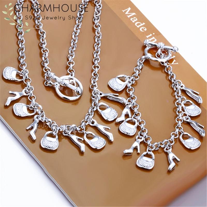 Charmhouse 925 Plata juegos de joyas para mujer bolsa zapato encanto collar pulsera 2 uds juego de joyas de compromiso coltier Pulseira