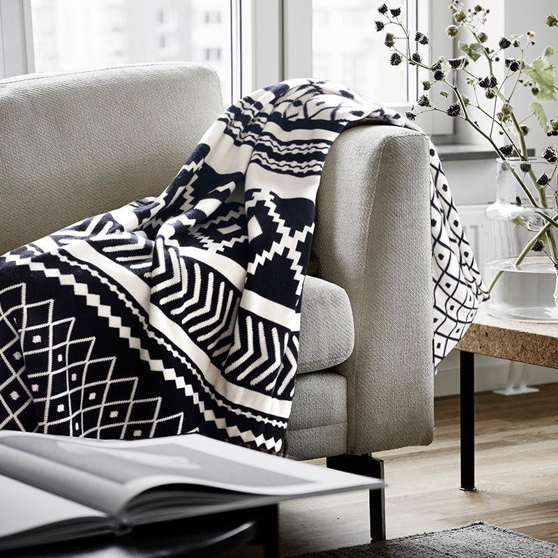 بطانية صوفا محبوكة ، شال ، أبيض وأسود ، للقيلولة ، للترفيه ، المنسوجات المنزلية ، 40x130 سم