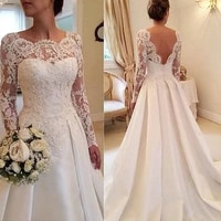 long sleeve wedding dress neckline and lace suitable for bra cut tail back open sexy