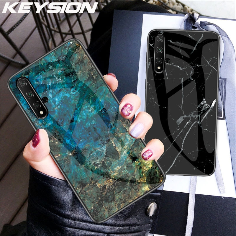 KEYSION Marble Tempered Glass Case for Honor V30 20 9X Pro 10i V20 8X Protective Back Cover for Huawei Mate30 20 P30 Pro Y9 2019