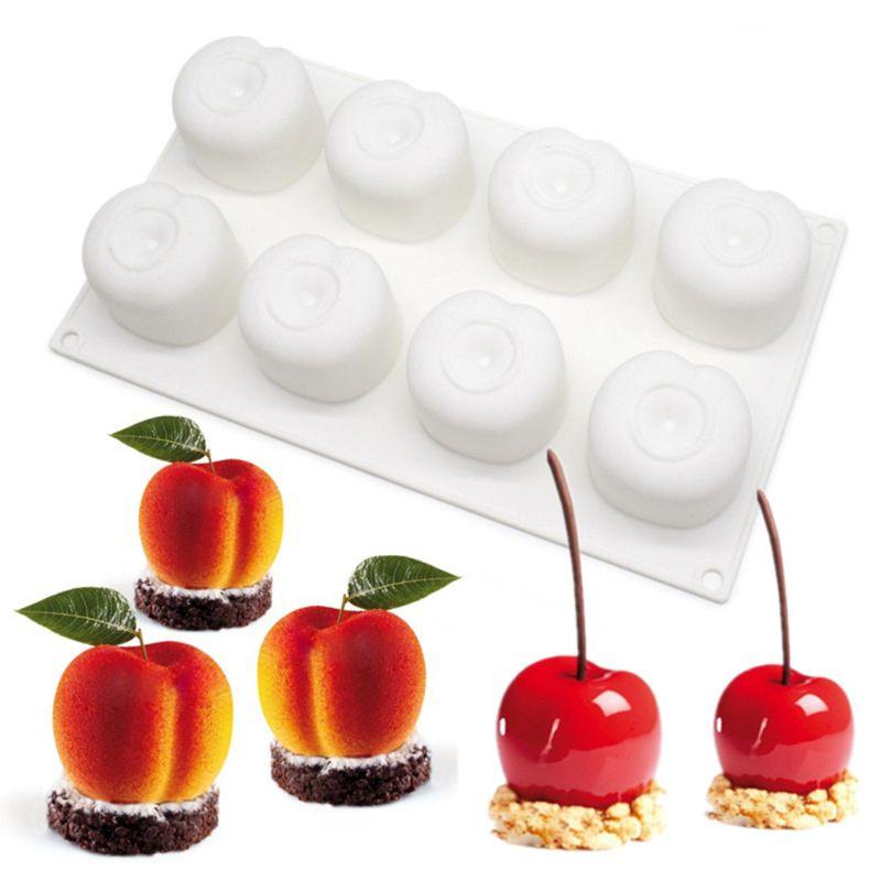 Moldes de silicona de cereza de 8 cavidades para tarta de espuma molde de pastel 3D para masa, chocolate para accesorios de cocina