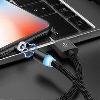 Магнитный USB-кабель со светодиодной подсветкой, Micro USB Type-C, 8 Pin, Магнитный зарядный провод, шнур для зарядного устройства для iPhone 8 X XR Samsung Note 9 ...