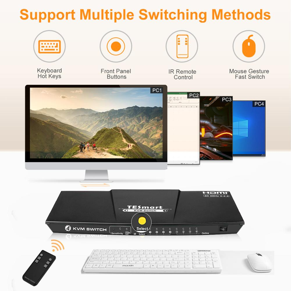 4K 4 Ports KVM Switch Supports USB 2.0 Device Control up to 4 PC 4 Input 1 Output  Support left and right channel analog audio enlarge
