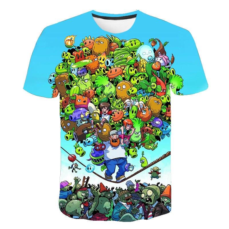 Verano nuevo hombres mujeres moda Casual Harajuku camiseta 3D impreso dibujos animados plantas Vs Zombies camiseta niños niño niña camisetas