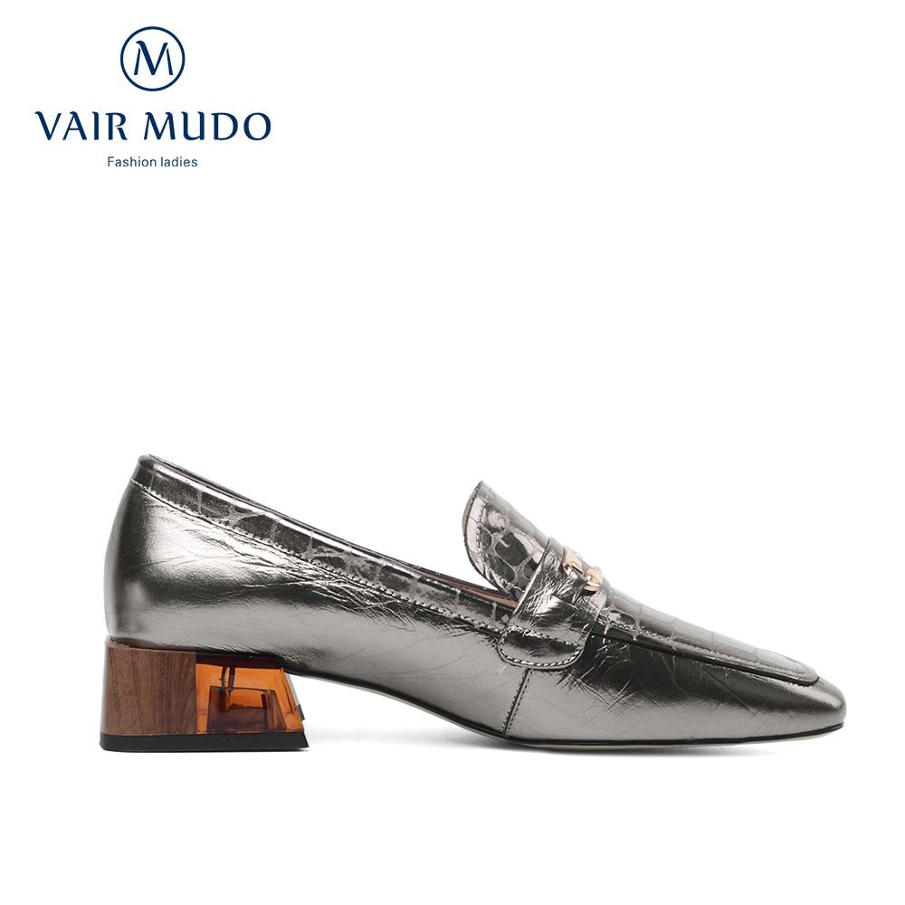 VAIR MUDO Women Pumps Shoes Ladies Spring Summer Fashion Shoes Women Thick Heel  Silver Gun Genuine Leather Casual Shoes D26L