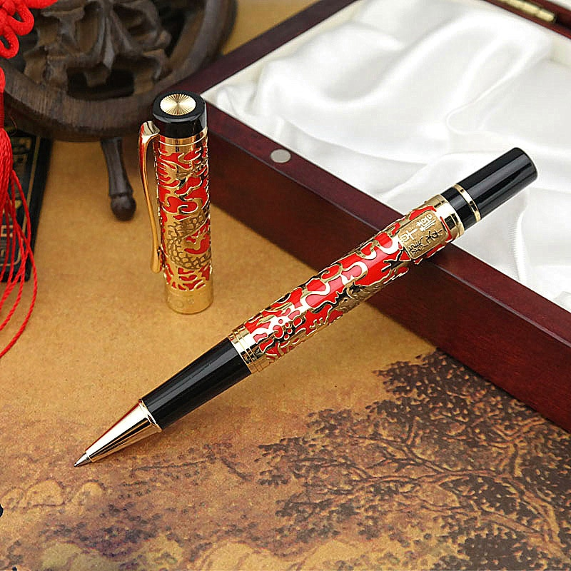 Gran calidad marca JinHao 5000 Rollerball pluma recorte relieve Dragon Gloden firma fluida Suiza Oficina suministros pluma de tinta