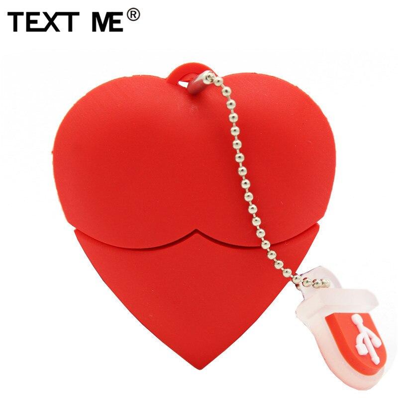 Memoria USB 2,0 de 4GB, 8GB, 16GB, 32GB, 64GB con diseño de corazón rojo y texto ME