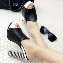Carré haut talon pantoufles femmes sandales plate-forme pantoufles été talons hauts sandales femmes sexy tongs noir blanc