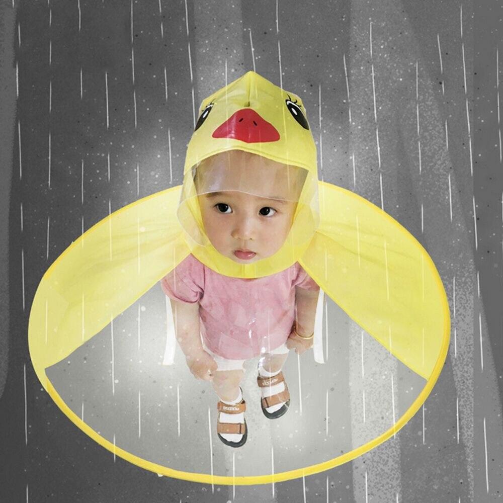 Chubasquero bonito dibujo pato niños chubasquero niños paraguas Poncho resistente al viento bebé Poncho capa bebé chubasquero envío de la gota gorra