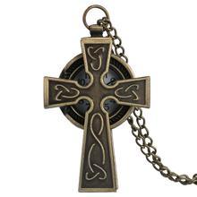 Bronze en forme de croix prier Quartz montre de poche Vintage Antique Fob montre hommes femmes cadeau collier chaîne pendentif relojes de bolsillo