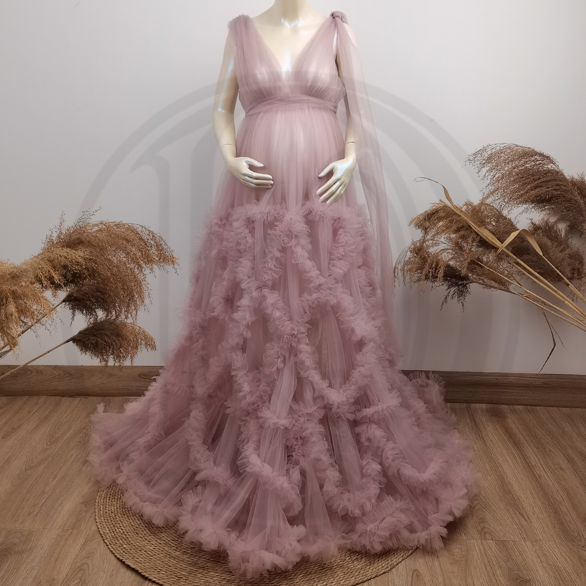Photo Shoot Props Light Purple Tulle Maternity Cothing Pregnant Gown Couture Robe Woman Photography Costume Baby Shower Dress