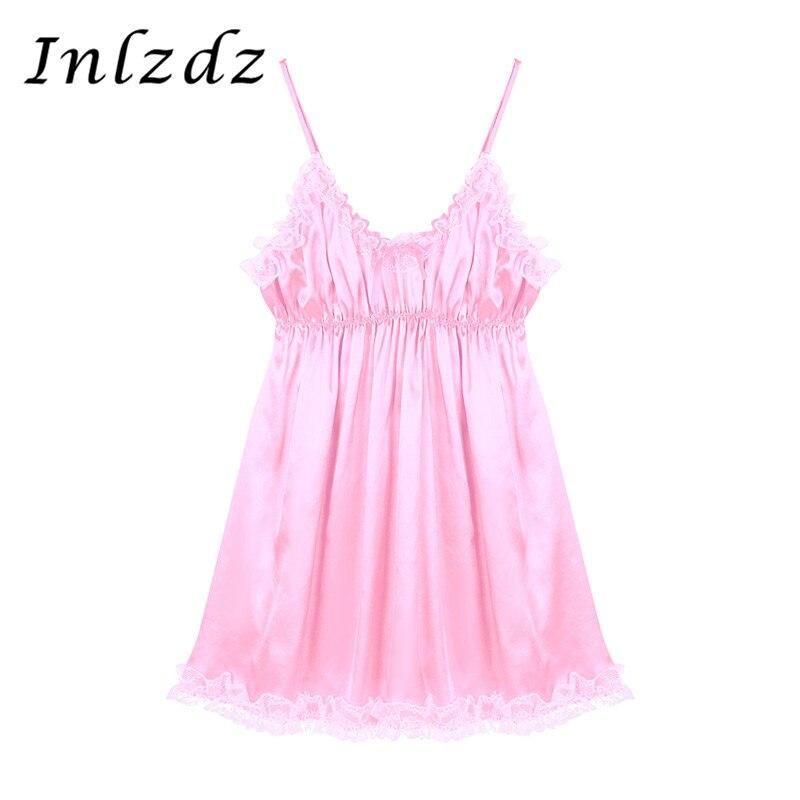 Homens sissy crossdresser vestido sissy conjunto lingerie conjuntos exóticos hem cetim sissy vestido masculino lingerie exótica terno trajes