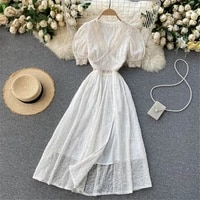 women sweet embroidery summer dress 2021 v neck puff sleeve split french midi dresses fashion elegant gown female clothing 2021