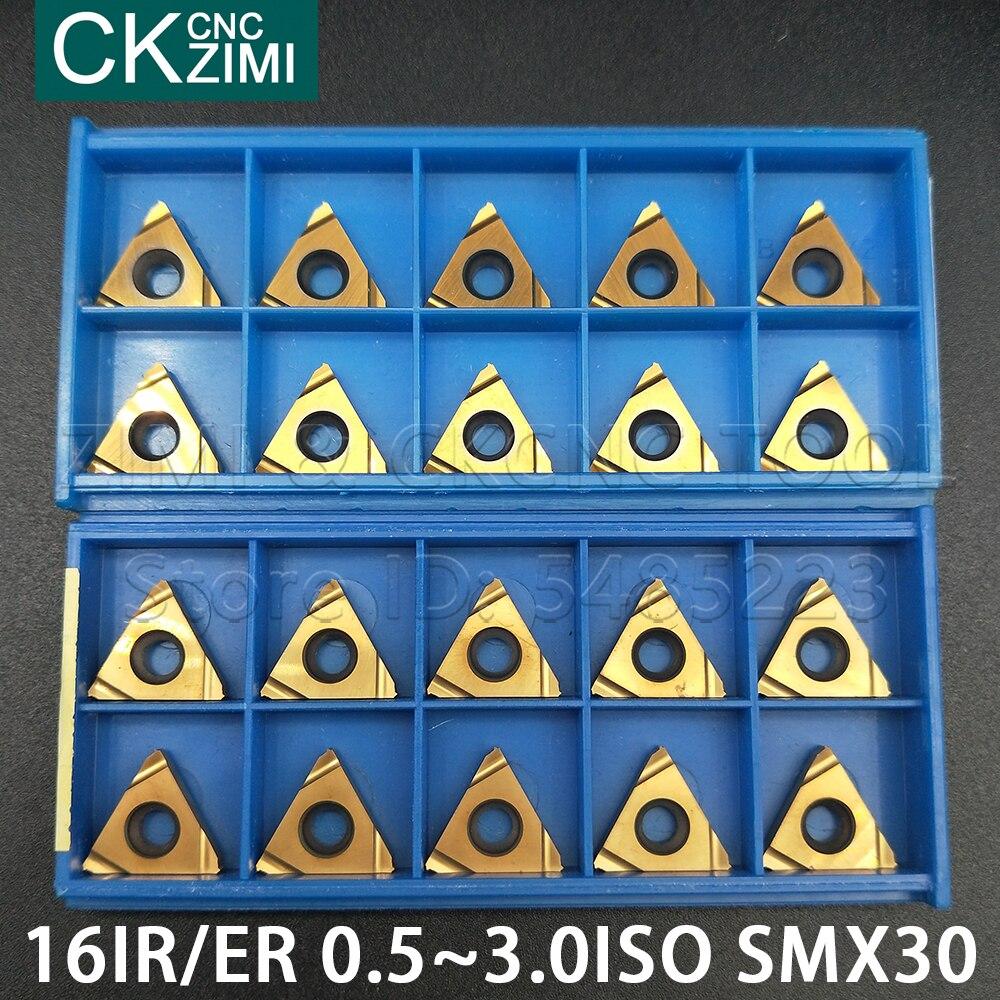 16IR 16ER 0,5, 0,75, 1,0, 1,25, 1,5, 1,75, 2,0, 2,5, ISO 3,0, SMX30 interiores de herramienta de torno de hilo de herramientas de corte CNC carburo