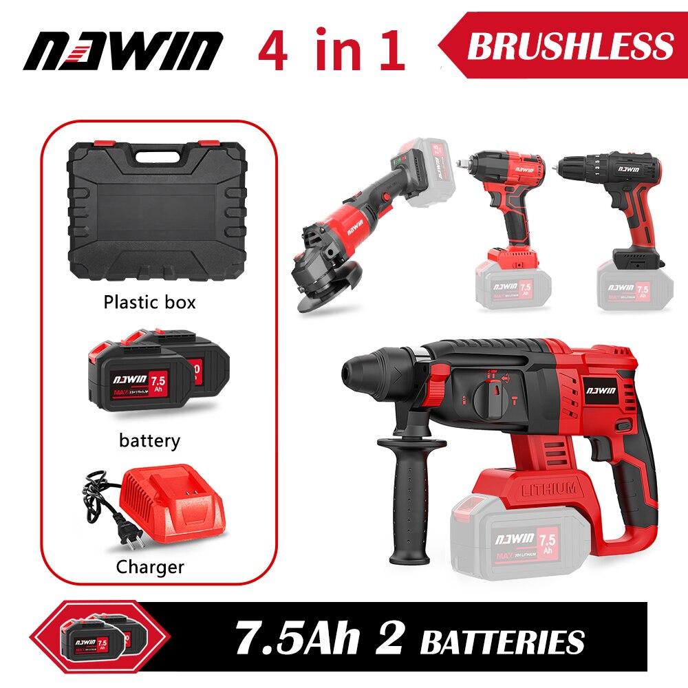 NAWIN-حقيبة أدوات كهربائية فائقة منخفضة للغاية ، مثقاب كهربائي ، مفتاح ربط ، مطحنة زاوية ، 3/4 قطعة