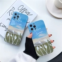 iphone case photo frame illustration flowers and blue sky suitable for iphone 11 mobile phone case iphone11promax mobile