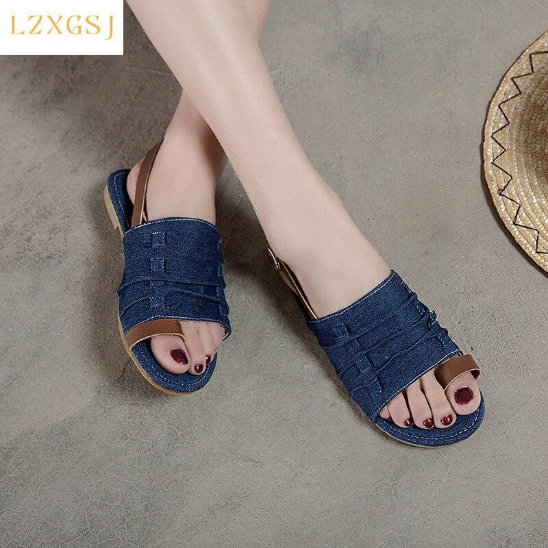2021 New Summer Women Flat Sandals Peep Toe Buckle Strap Sandals Female Fashion Casual Women's Summer Shoes Denim Sandales